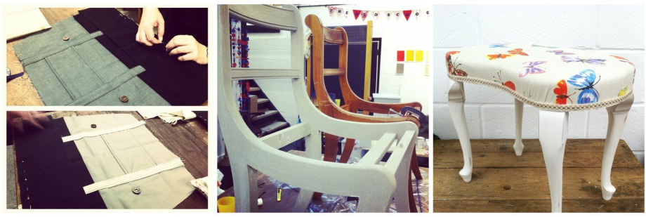 Craft classes in london sewing upcycling furniture for Furniture upholstery course